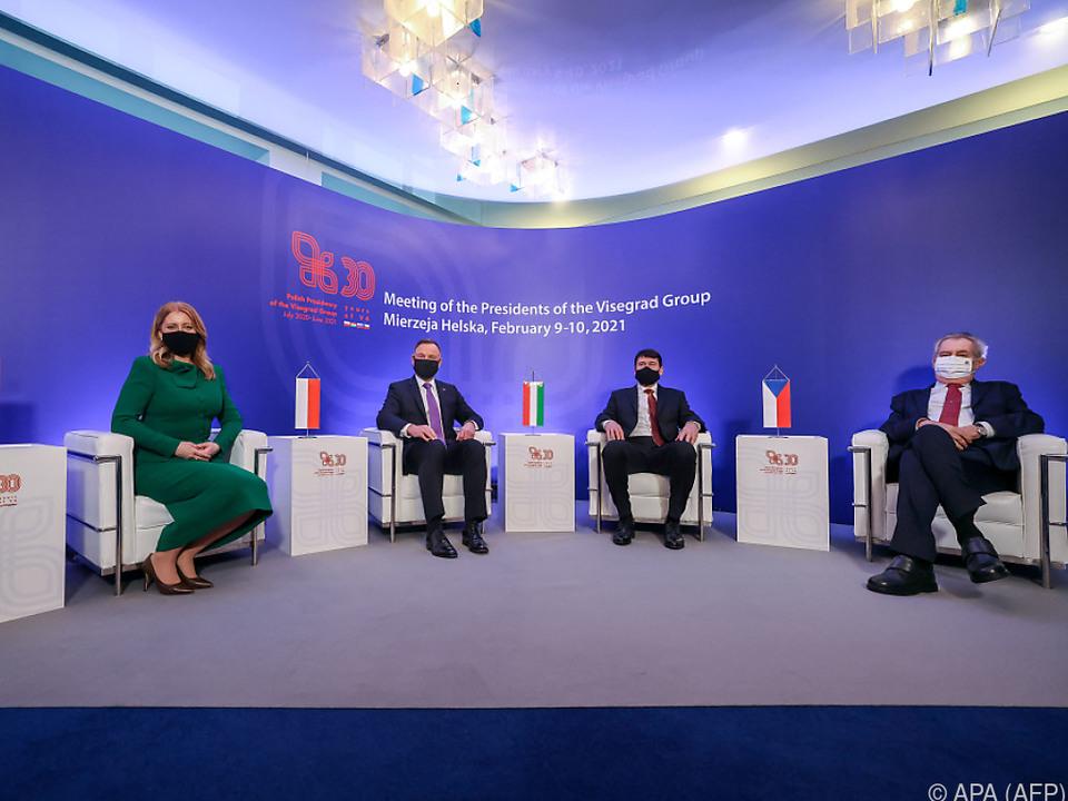 Die V4-Staatschefs Caputova, Duda, Ader und Zeman
