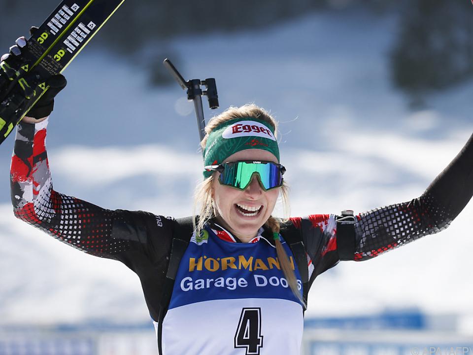 Lisa Hauser feierte im WM-Massenstart mit Gold ihren größten Triumph