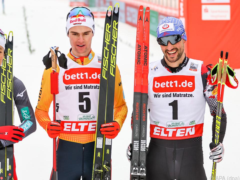 Lukas Greiderer (rechts) kam zum dritten Mal auf ein Weltcup-Podest