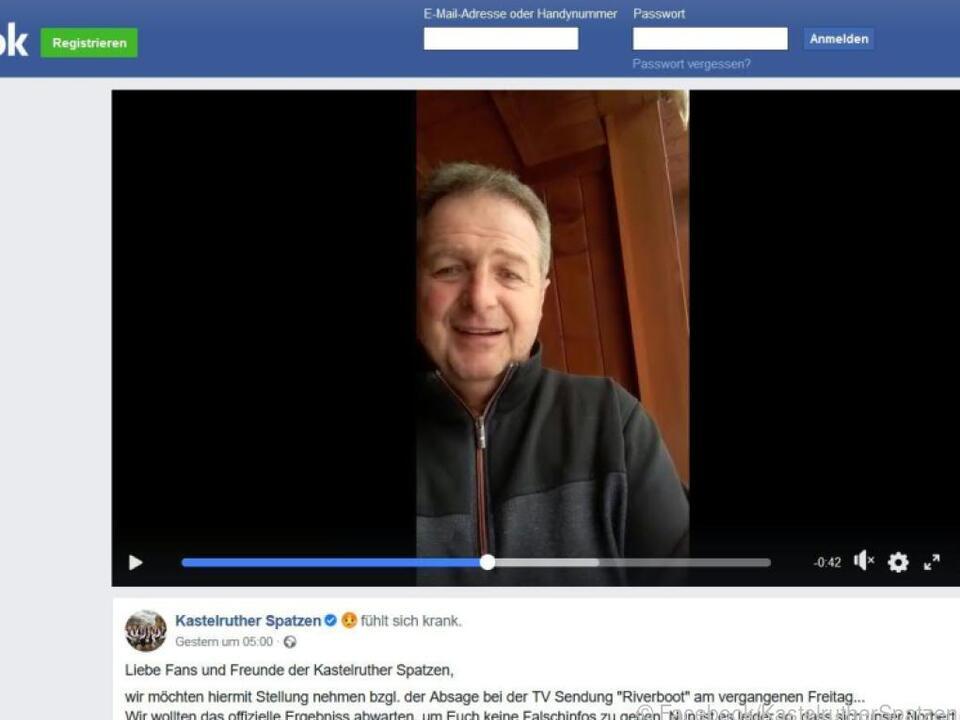 Rier gab seine Erkrankung in einem Video auf Facebook bekannt