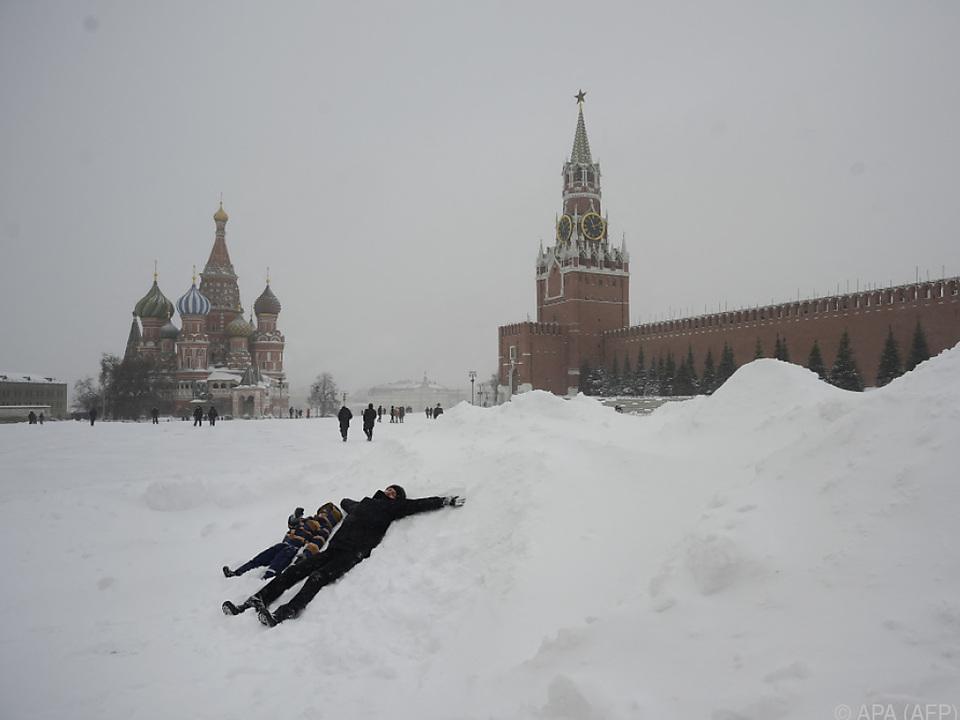 Schneemassen am Roten Platz