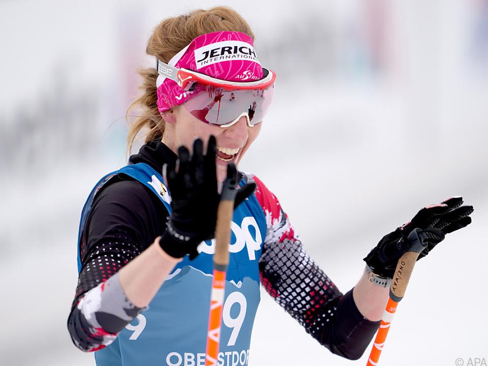Teresa Stadlober hatte nach dem WM-Skiathlon allen Grund zur Freude