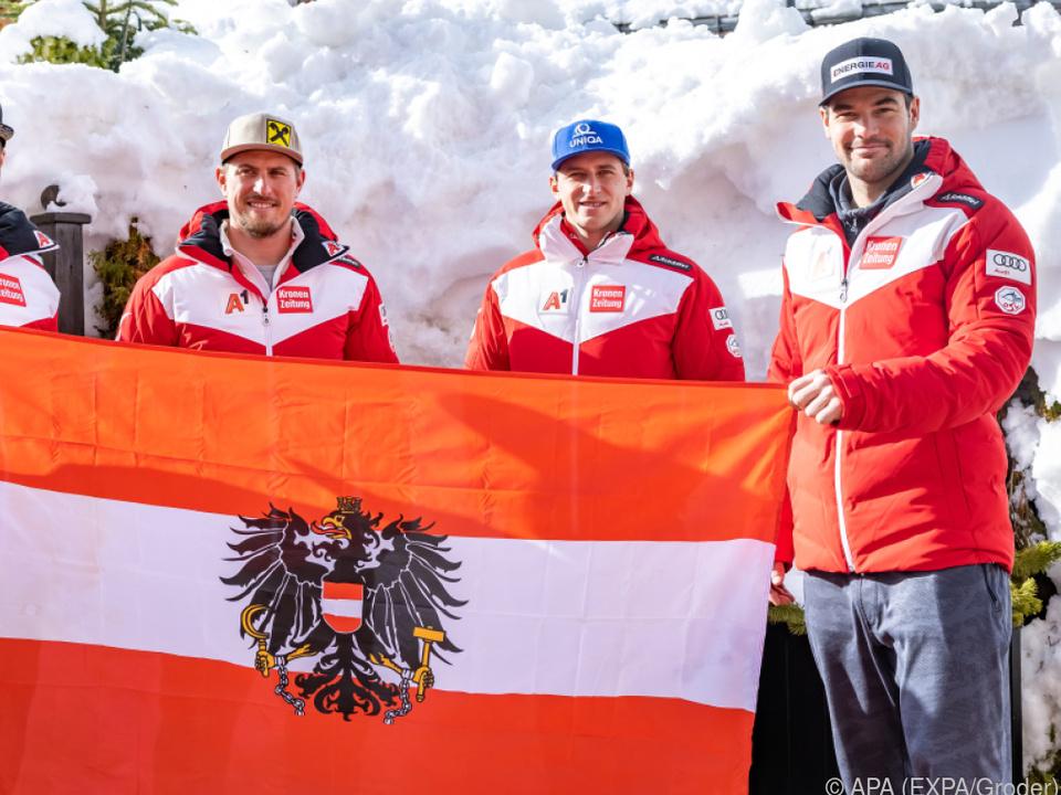 Walder, Franz, Mayer und Kriechmayr (von links) legen los