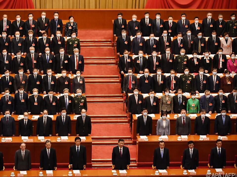 Chinas Führung bei der diesjährigen Volkskongress-Tagung