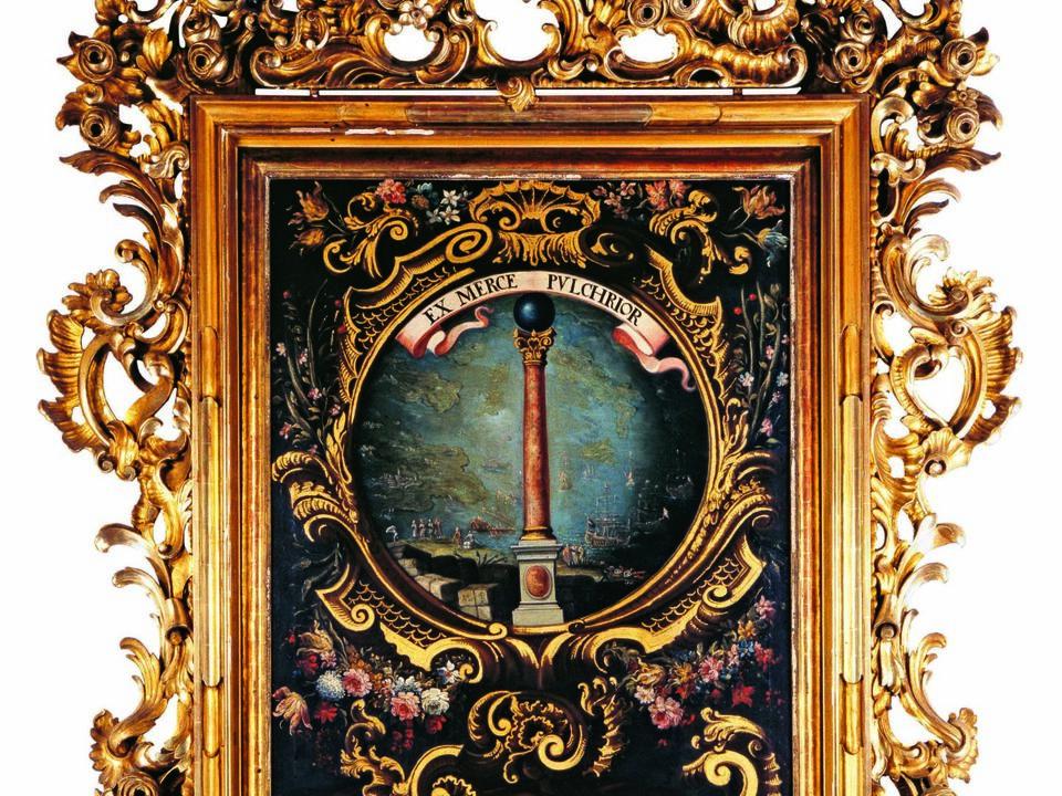 Das gemalte Wappen der Handelskammer