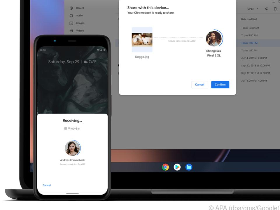 Nearby Share lässt Chromebooks Dateien mit anderen Android-Geräten austauschen