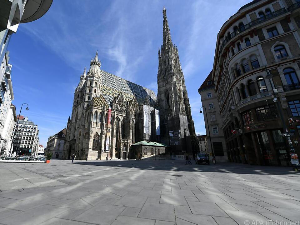 Der verwaiste Stephansplatz am 16. März 2020 wien