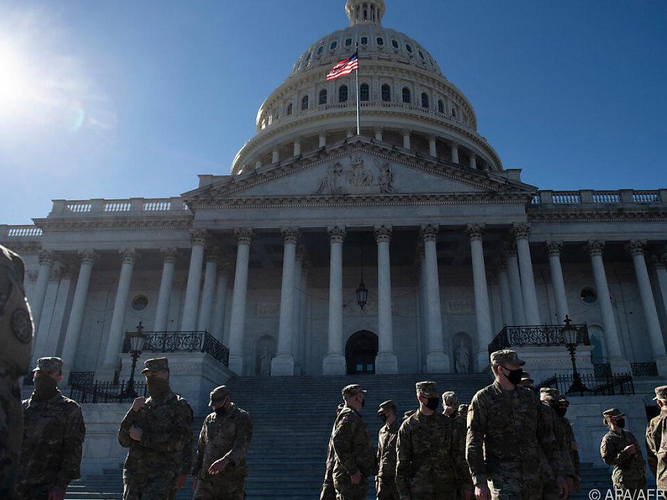 Die US-Nationalgarde bewacht das Kapitol