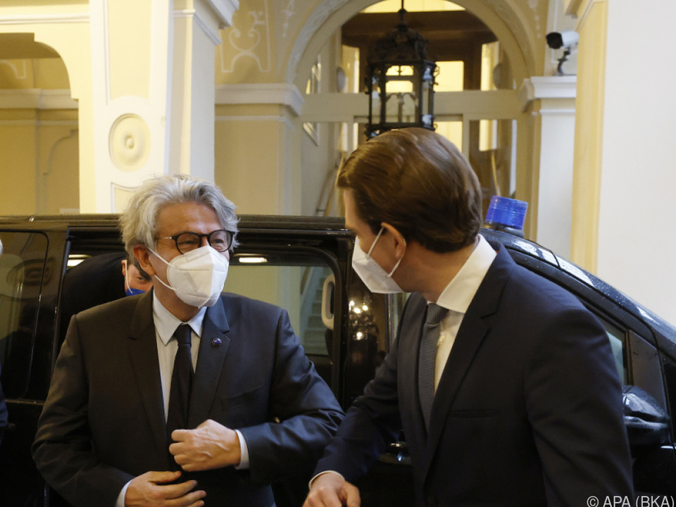 EU-Kommissar Breton zu Gast bei Kanzler Kurz in Wien