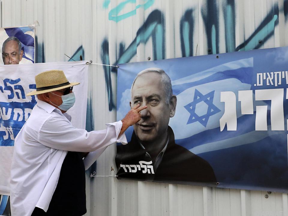 Favorit: Premier Benjamin Netanyahu auf einem Wahlplakat