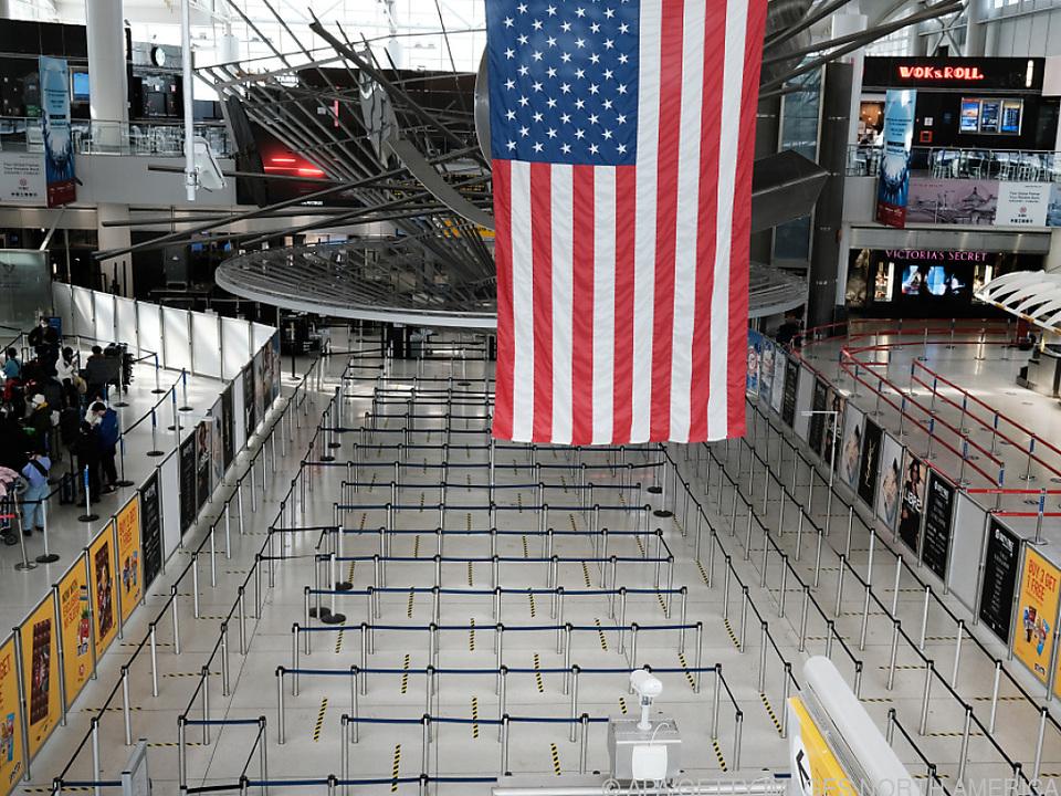 Leeres internationales Terminal Ende Jänner am New Yorker JFK-Airport