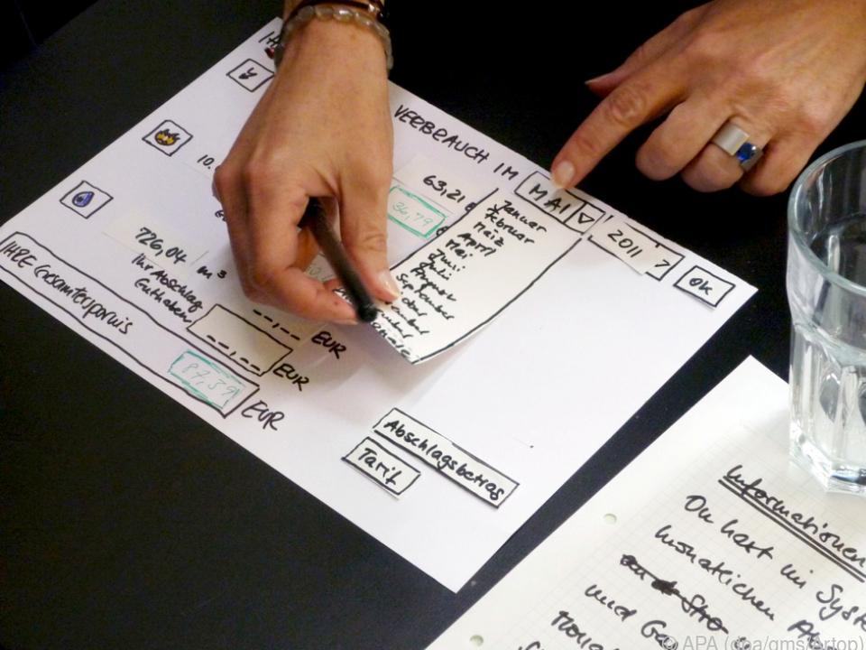 Oft wird auf Papier erprobt, wie eine Webseite später wohl bedient werden wird