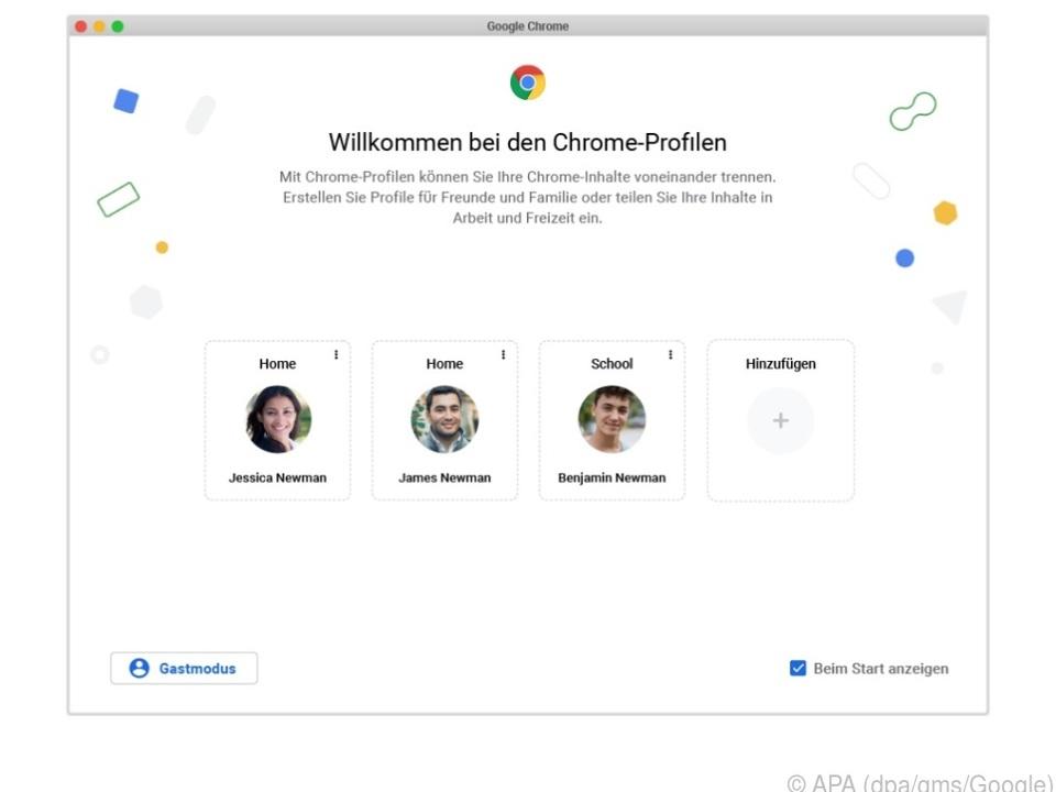 So soll die Auswahlseite für die kommenden Benutzerprofile in Chrome aussehen