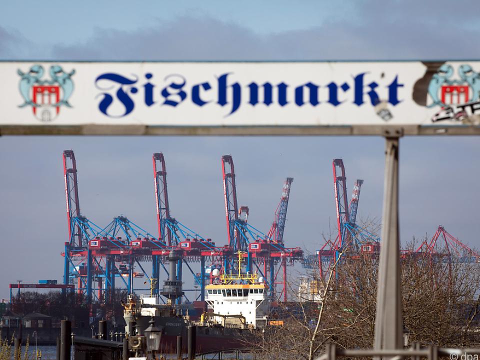 Über den Fischmarkt der Blick zu Docks in Hamburg