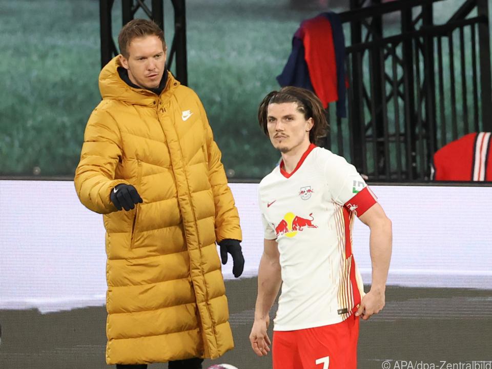 Bayern an Leipzig-Coach Nagelsmann (hier mit Sabitzer) dran