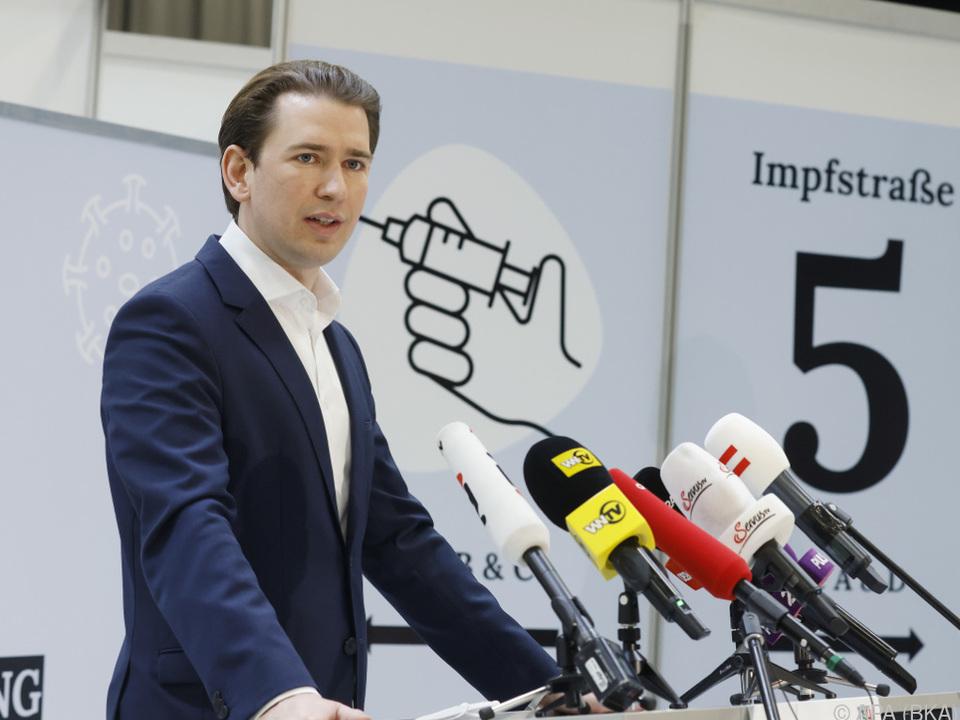 Bundeskanzler Kurz erfreut über den Fortschritt der Impfkampagne