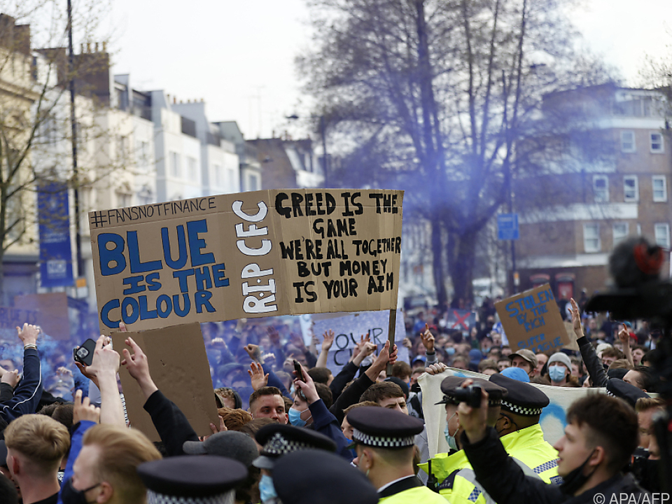 Chelsea-Fans protestierten gegen geplante Super League