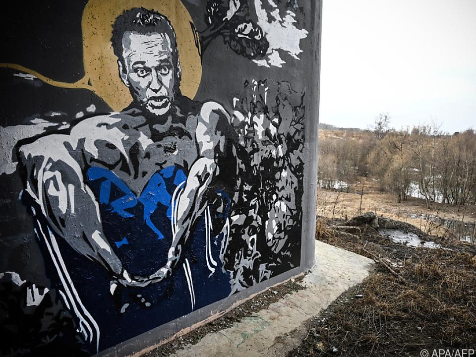 Ein Graffiti des inhaftierten Oppositionellen in Moskau
