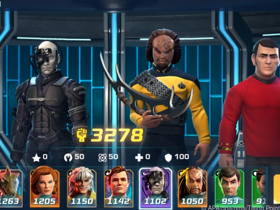 Michael Burnham, ein Borg, Worf und Scotty auf dem Transporter-Pad