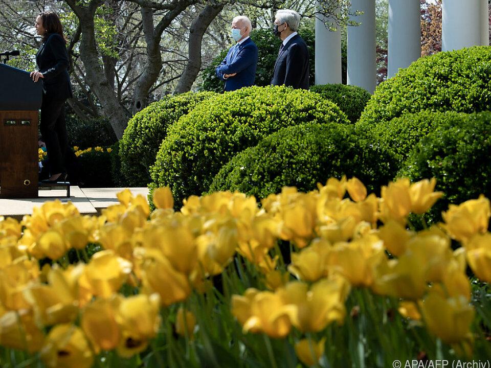 US-Präsident Joe Biden im Garten des Weißen Hauses