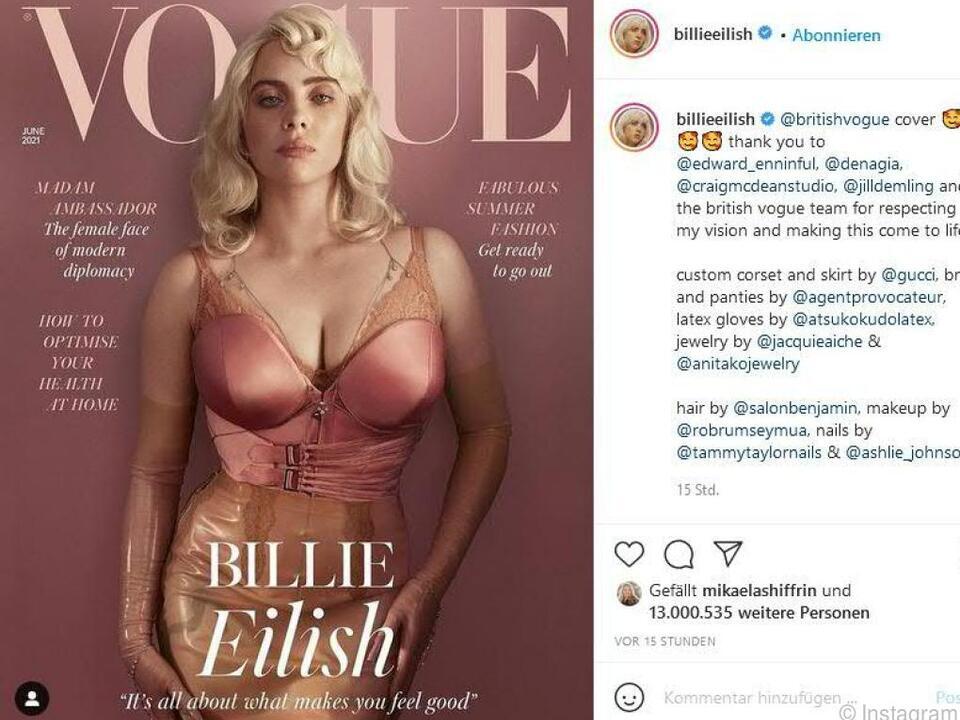 Billie Eilish zeigt sich am Cover der Vogue ungewohnt körperbetont