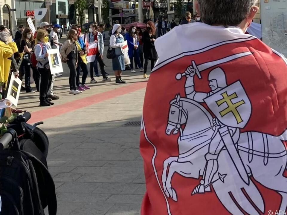 Demonstration für Weißrussland in Wien