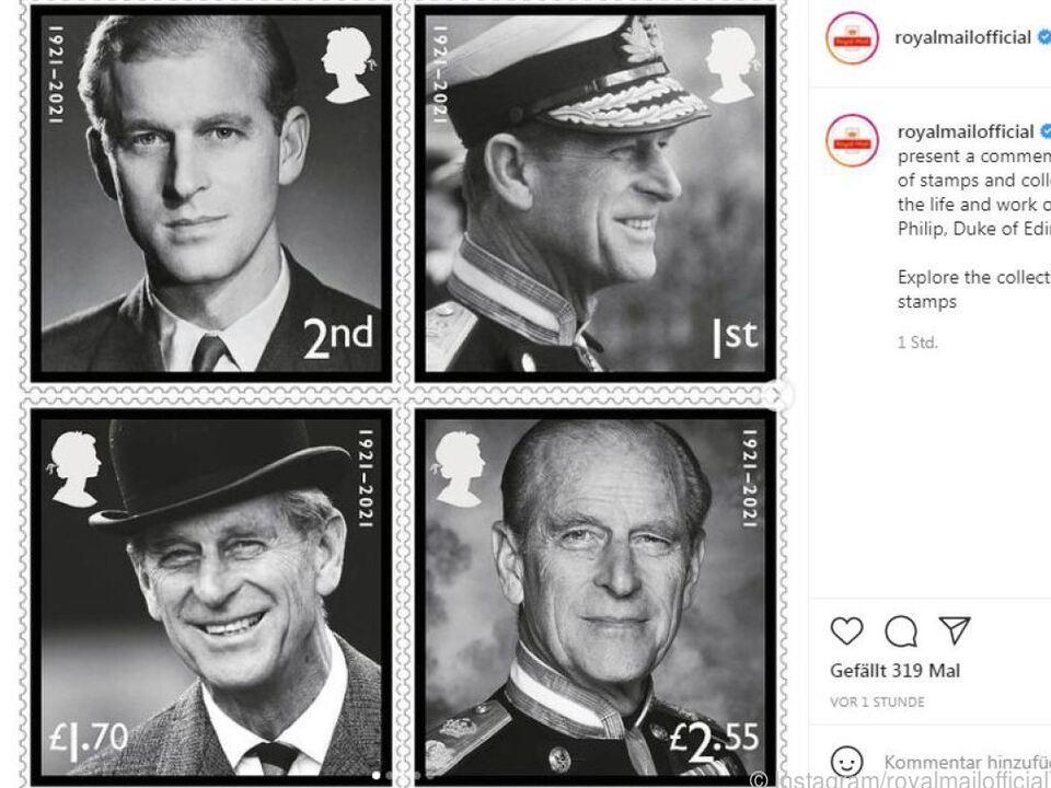 Die vier Sondermarken zeigen den Herzog von Edinburgh