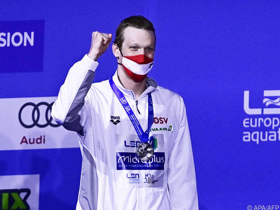 Felix Auböck jubelt über seine erste Medaille bei einem Großereignis.