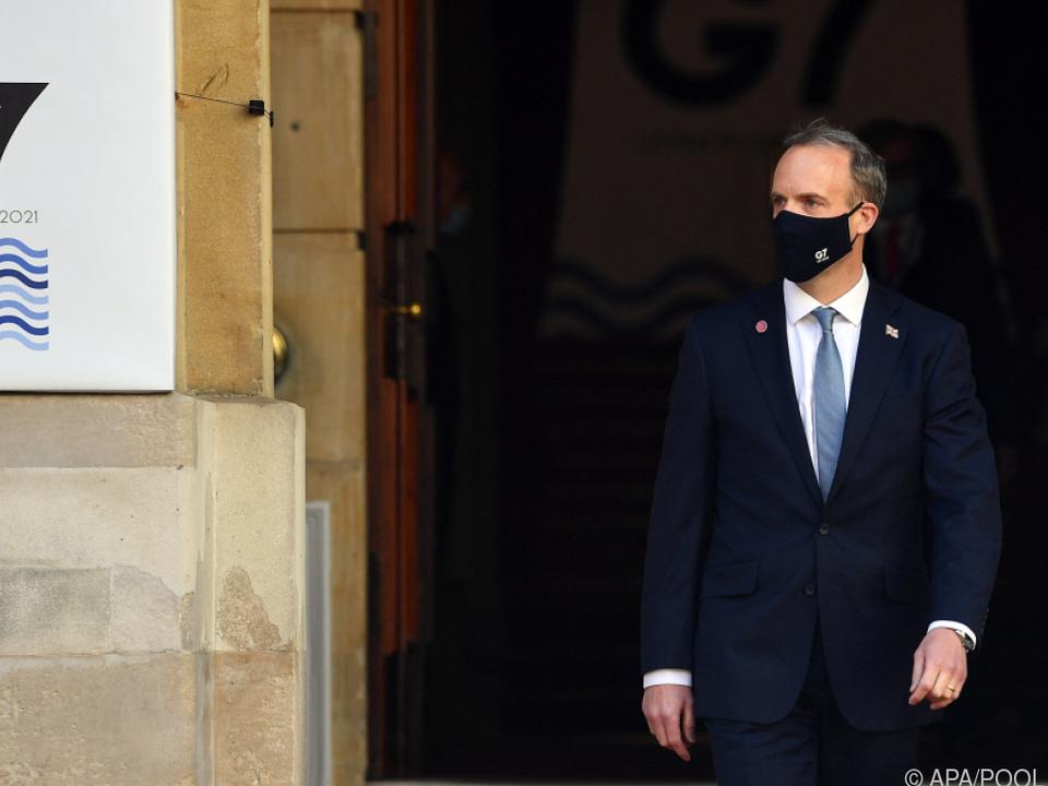 Gastgeber Dominic Raab beim G7-Außenministertreffen