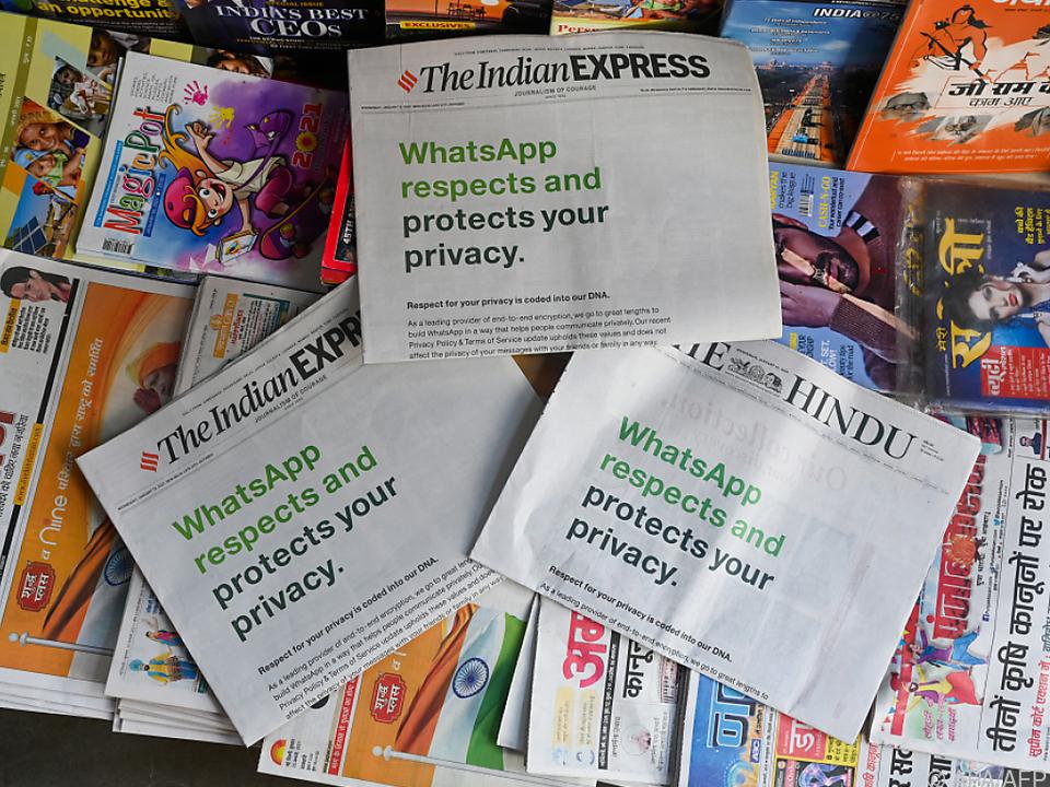 In Indien rückte Whatsapp mit Zeitungsinseraten gegen Zweifel an