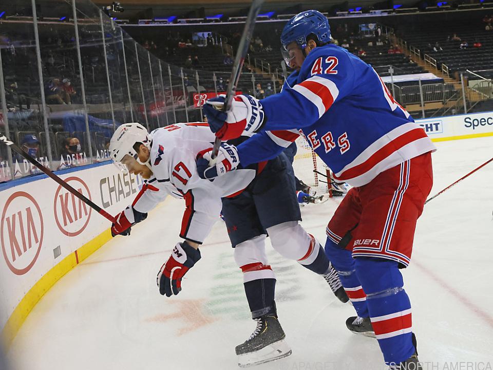 Michael Raffl (Nr. 17) mit starker Leistung gegen die NY Rangers