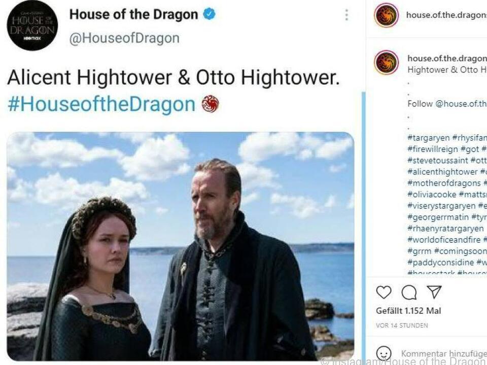 Olivia Cooke und Rhys Ifans als Otto und Alicent Hightower