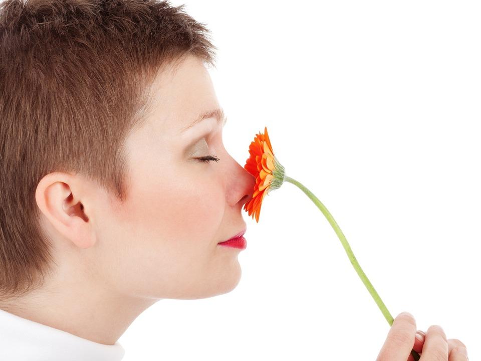 Geruchssinn Riechen Frau Blume
