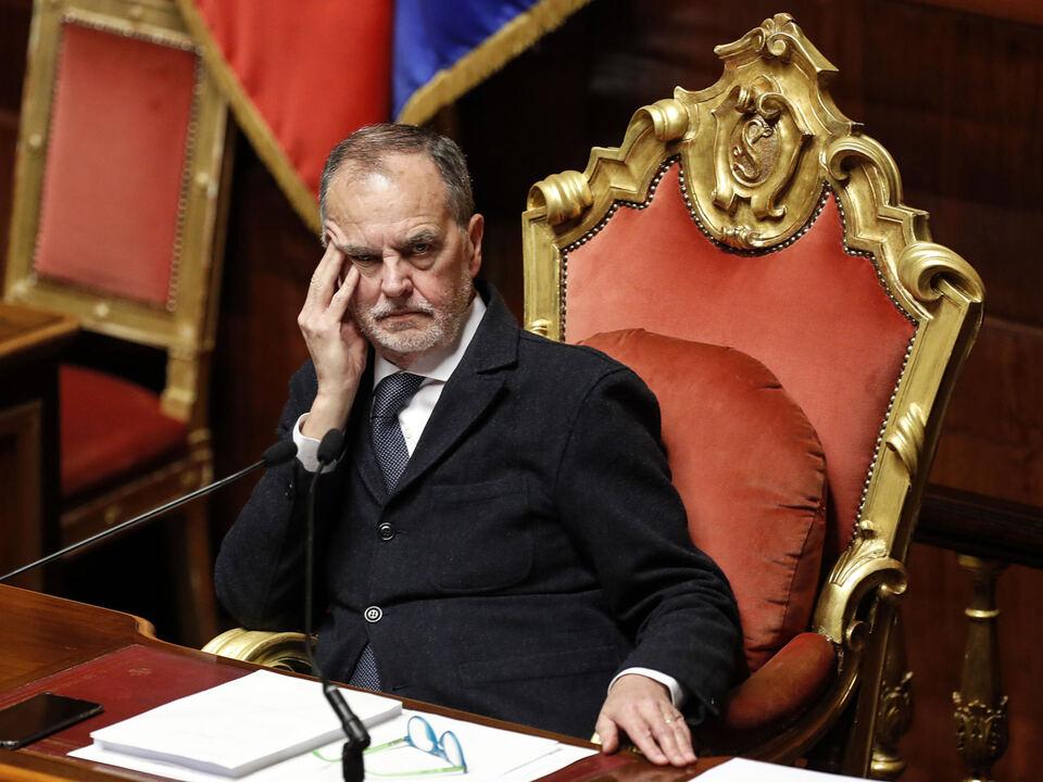 Roberto Calderoli, vice presidente del Senato e senatore della Lega, durante la discussione generale sul decreto fiscale al Senato, Roma, 17 dicembre 2019. athesiadruck1_2021062309483356_a862437352b6c2666d25a032a5eaf171