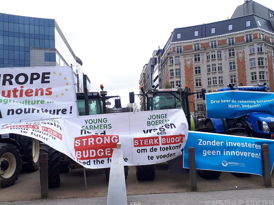 Bauern-Demo für ordentliches Budget bei einem EU-Gipfel in Brüssel