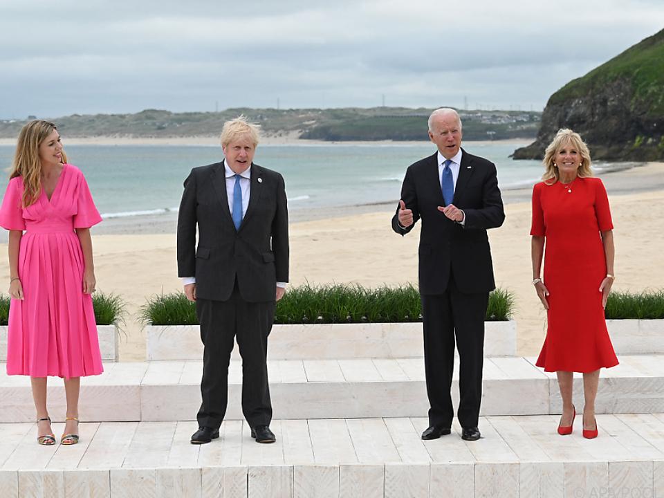 Boris und Carrie Johnson mit Joe und Jill Biden in Carbis Bay