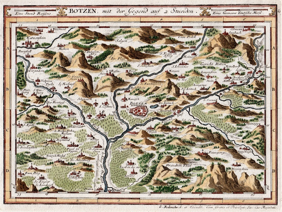 Botzen mit der Gegend auf 2 Stunden, Gabriel Bodenehr, um 1720, Druck auf Papier, Tirol, Südtiroler Landesmuseum für Kultur- und Landesgeschichte Schloss Tirol
