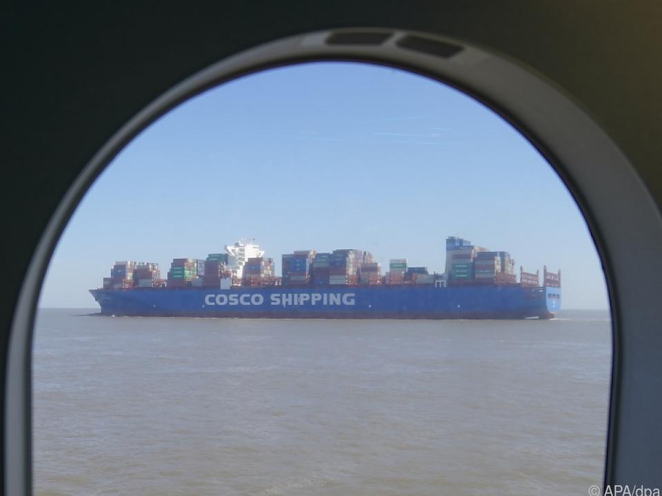 Das Containerschiff CSCL Mars: Vielleicht auch mit Waren für Austria