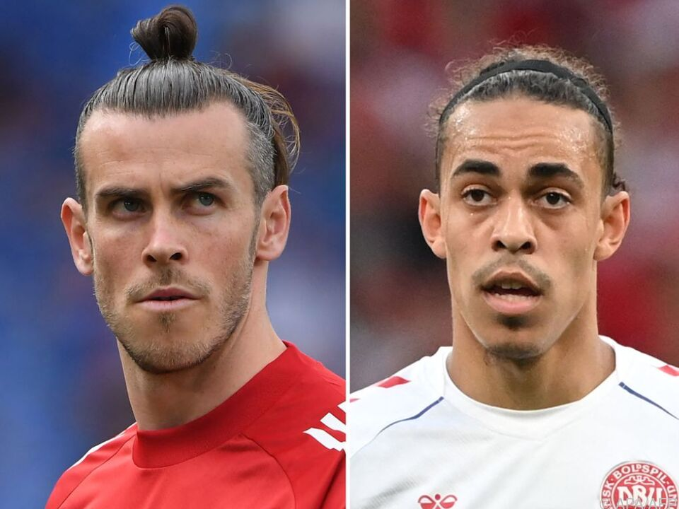 Duell der Starstürmer Gareth Bale (Wales) und Yussuf Poulsen
