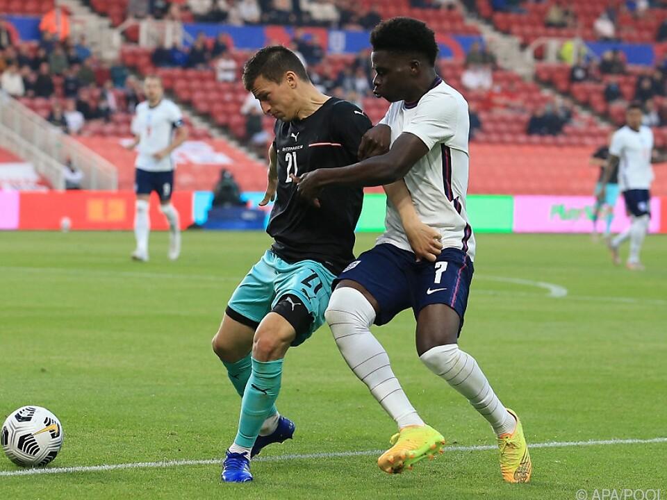 Lainer hatte gegen England-Torschütze Saka alle Hände voll zu tun