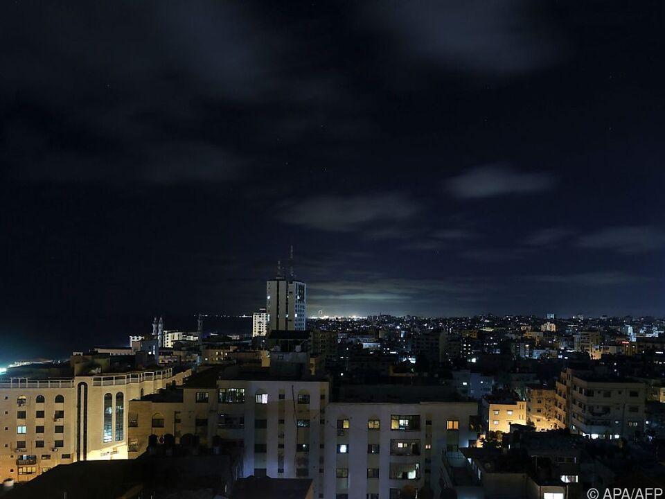 Nächtlicher Blick über Gaza City