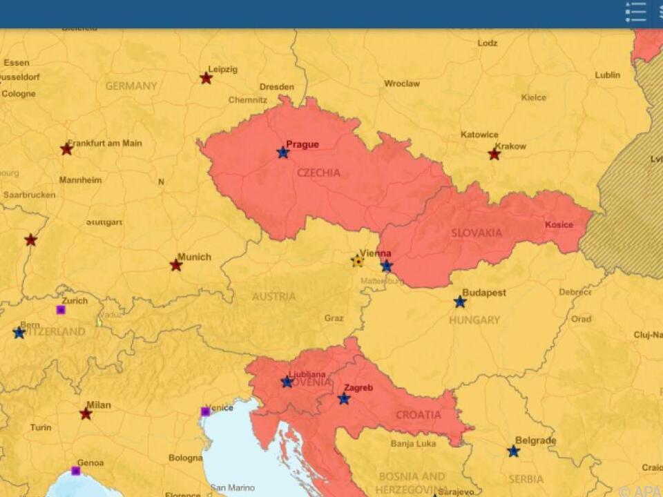 Österreich ist auf der US-Reisewarnungskarte nicht mehr rot (Screenshot)
