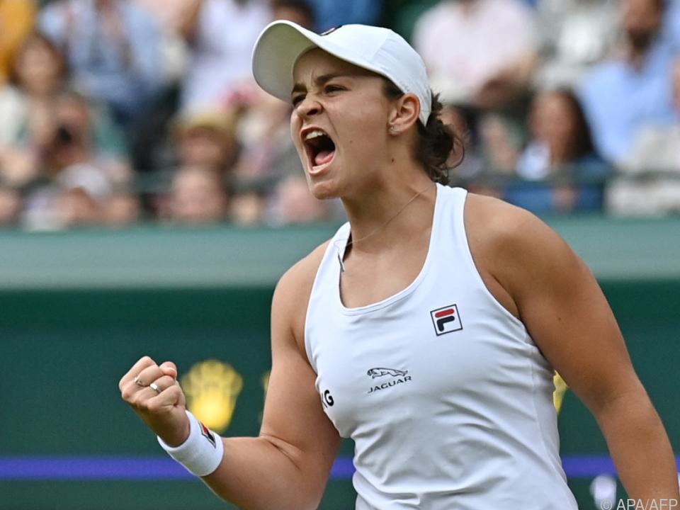 Die Weltranglisten-Erste Ashleigh Barty steht erstmals im Wimbledon-Viertelfinale