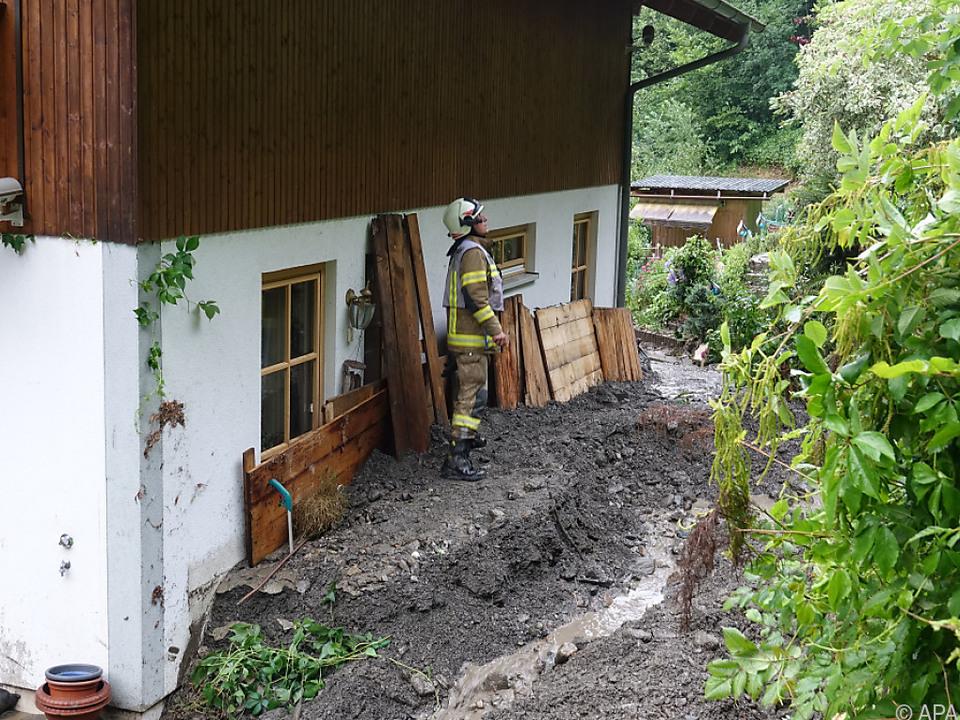 Ein Murenabgang im Tiroler Uderns