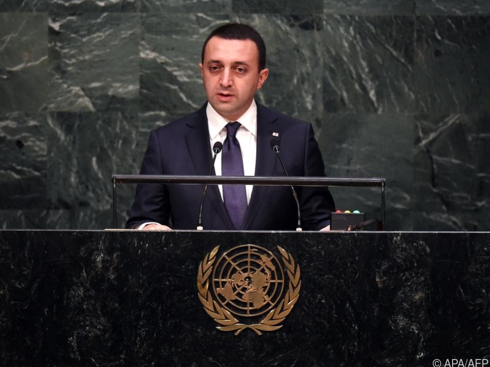 Georgiens Premier bei einem Auftritt vor der UNO
