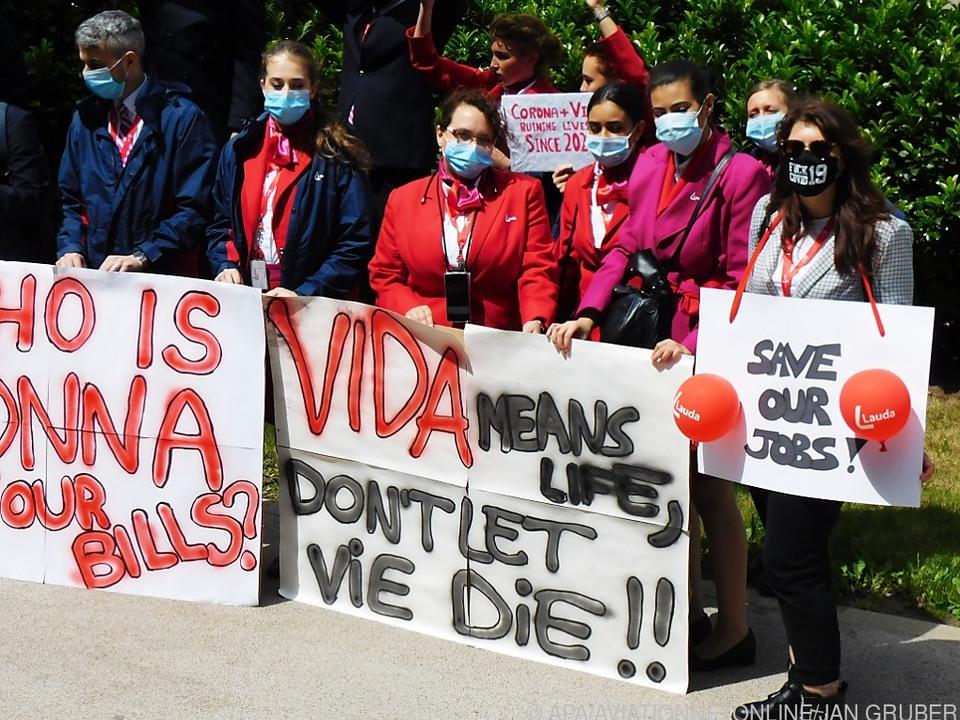 Lauda-Mitarbeiter bei Demo gegen schlechten KV im Vorjahr
