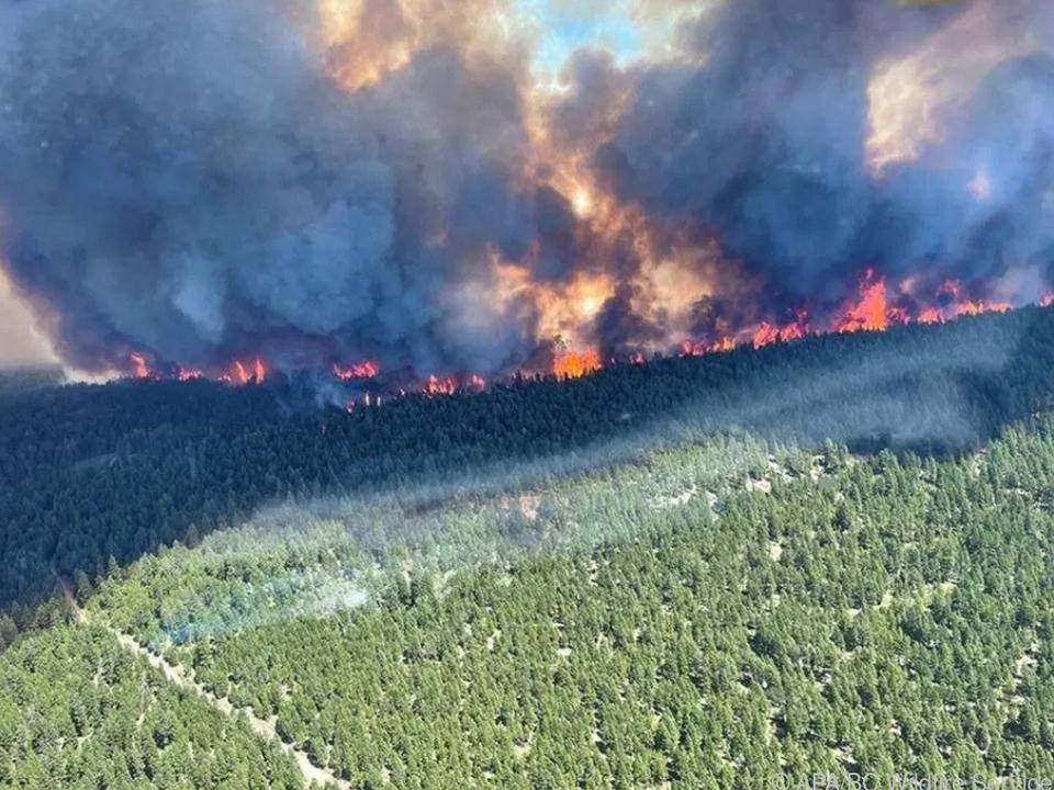 Luftaufnahme eines Infernos am Sparks Lake in Kanada