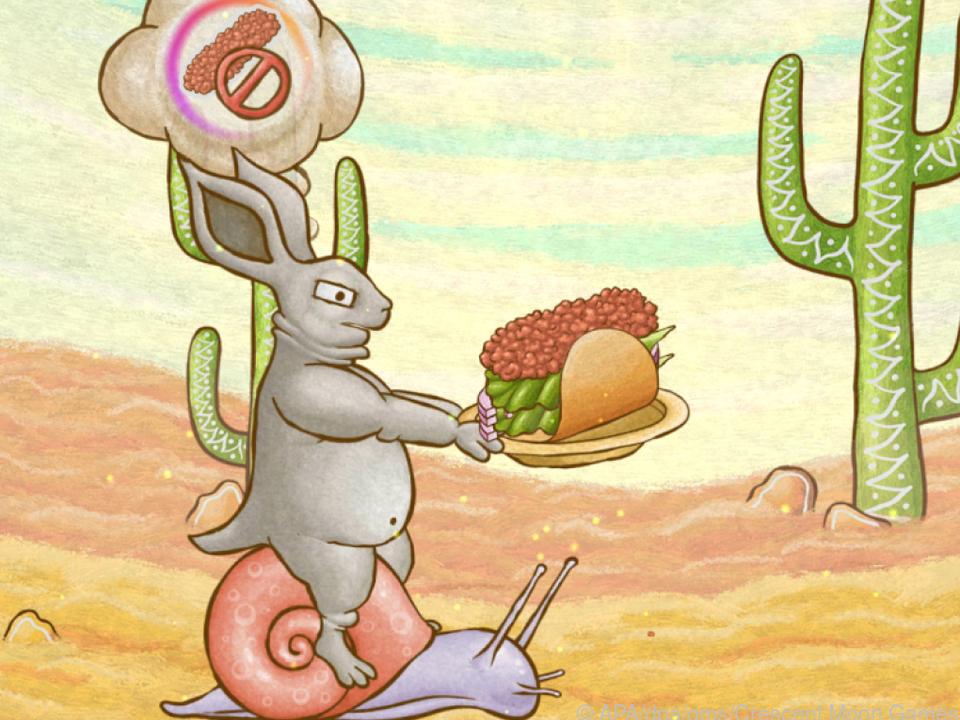 Dieser hungrige Hase kommt auf einer Schnecke angeritten