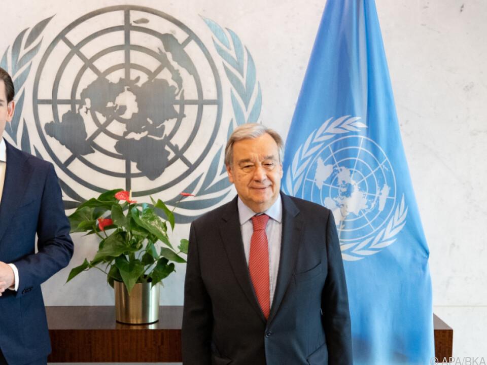 UNO-Generalsekretär Guterres empfing Kurz