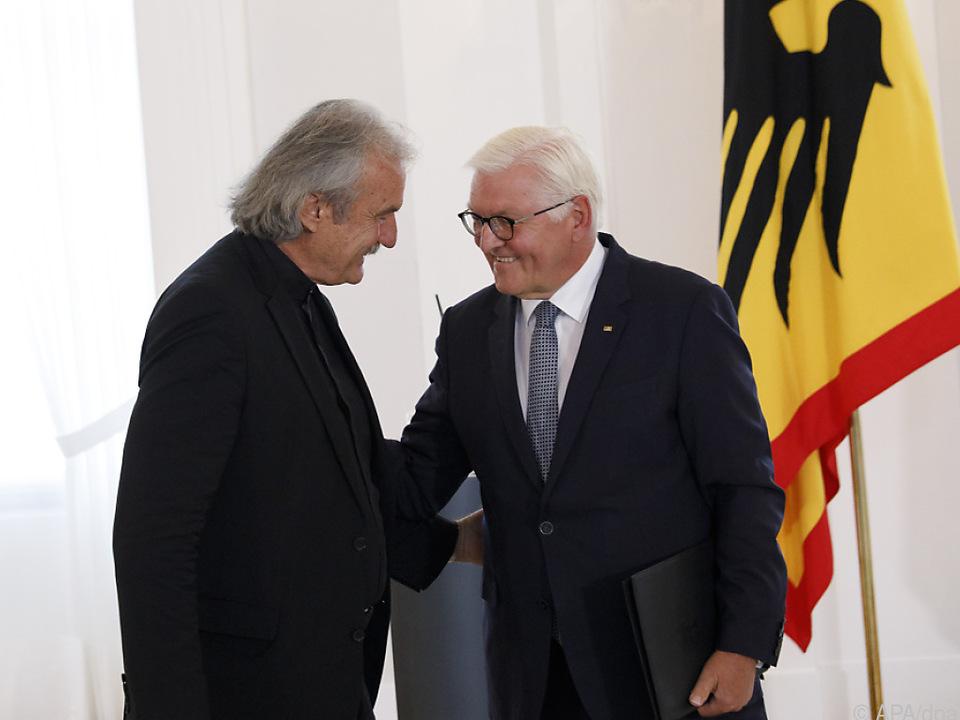 Christoph Ransmayr mit deutschem Bundespräsident Steinmeier